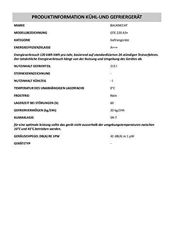 Gefriertruhe Test - Bauknecht GTE 220 A3+ Gefriertruhe / A+++ / Gefrieren: 215 L / weiß / Digitale Temperaturanzeige / ECO Energiesparen / Kindersicherung - 3
