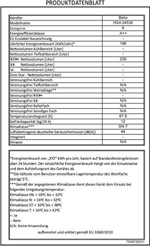 Gefriertruhe Test - Beko HSA 24530 Gefriertruhe / A++ / 186 kWh/Jahr / Gefrieren: 230 L / Weiß / Türschloss - 3